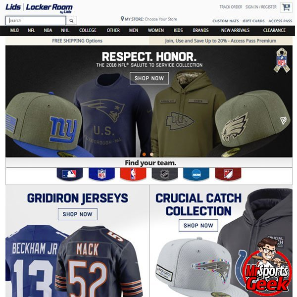 396ed14548e Lids - Best Sports Merchandise Sites - MrSportsGeek